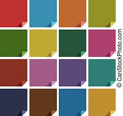 16 retro colored blank square