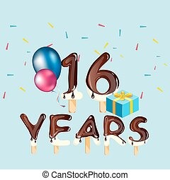 16, saudação, anos, cartão aniversário, celebração