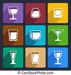 16, set, occhiali, bevanda, icone