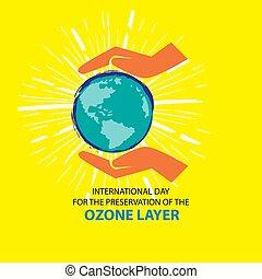 16., settembre, conservazione, giorno, ozono, internazionale, layer.