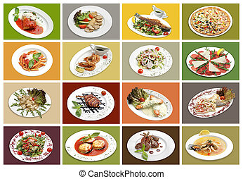16 italian course with meat, fish, vegetable. Each frame aproximately 1050*700 pix. Full image 4440x3075pix. Some images available in my portfolio by big size.