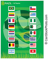 16 Teams of Soccer Tournament in Brazil 2014