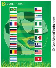 16 Teams of Soccer Tournament in Brazil 2014