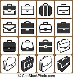 Briefcase Icons Set - 16 Vector Briefcase Icons Set