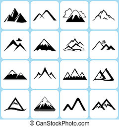 Mountain Icons Set - 16 Vector Mountain Icons Set