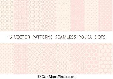 16 VECTOR PATTERNS SEAMLESS POLKA DOTS pink set