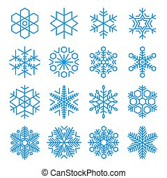 16 Vector Snowflakes Set