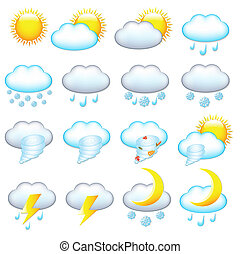 Weather Icons - 16 Weather Icons, Isolated On White ...