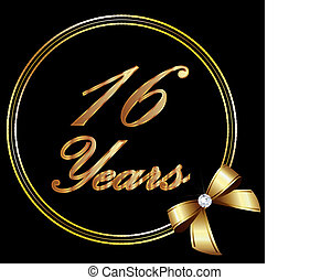 16 years anniversary gold and ribbo