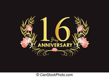 16 Years anniversary golden watercolor wreath vector