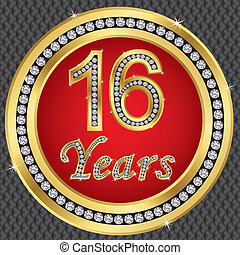 16 years anniversary, happy birthday golden icon with...
