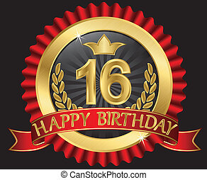 16 years happy birthday golden label with ribbons