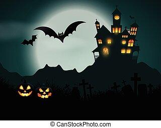 1609, halloween, terrorisiert, hintergrund, haus