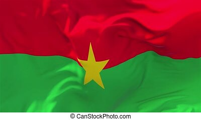 161. Burkina Faso Flag Waving in Wind Continuous Seamless Loop Background.