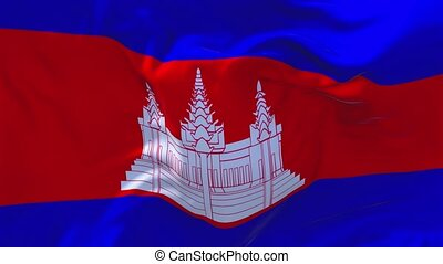 162. Cambodia Flag Waving in Wind Continuous Seamless Loop...