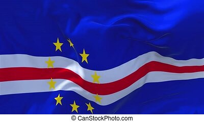 163. Cape Verde Flag Waving in Wind Continuous Seamless Loop Background.