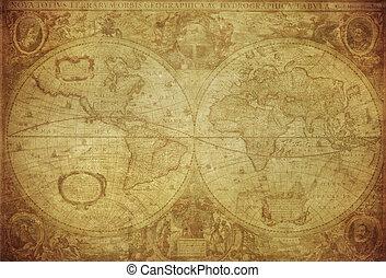 1630, mapa, mundo, vendimia