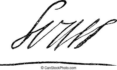 (1638-1715), roi, grand, roi, louis, signature, france, xiv, vendange, soleil, ou, engraving.