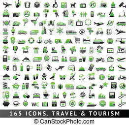 165 bicolor icons. Travel and Tourism - 165 bicolor (green...