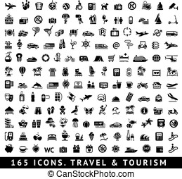 165 icons. Travel and Tourism - 165 icons. Travel symbol and...