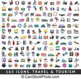 165, viaje turismo, cores, icons.
