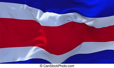166. Costa Rica Flag Waving in Wind Continuous Seamless Loop Background.