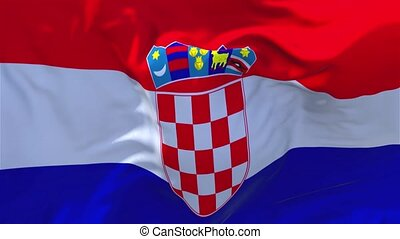 168. Croatia Flag Waving in Wind Continuous Seamless Loop Background.