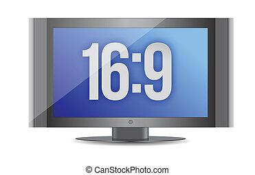 16:9 flat screen monitor illustration design over white...
