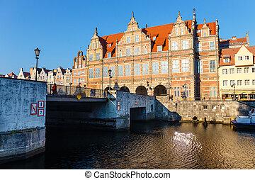 16º século, verde, portão, em, cidade velha, de, gdansk.,...
