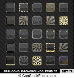 17., セット, app, イラスト, フレーム, ベクトル, backgrounds., テンプレート, アイコン