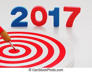 17, ターゲット, 千, 中心, ダート盤, 2, さっと動きなさい, ヒッティング, バックグラウンド。, year., 中心点, 矢, 年, 新しい, 2017, ゴール, 赤, 幸せ