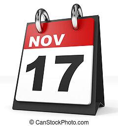 17, calendario, november., fondo., blanco