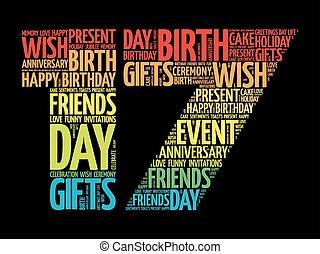 17, cumpleaños, palabra, nube, feliz