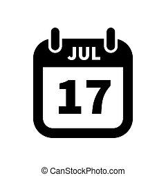 17, enkel, juli, isoleret, sort, dato, hvid, kalender, ikon