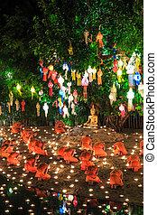 17, flotar, tailandia, globo, monje, tradición, noviembre, chiangmai, chiang, krathong, luces, 17, thailand-november, hecho, mai, al, papel, fiesta, annually, wat, loy, tao, phan, temple., chiangmai., :