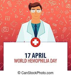 17, hémophilie, monde médical, day., holiday., vecteur, april., médecine, mondiale, illustration.