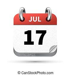 17, juli, isoleret, realistiske, klar, dato, hvid, kalender,...