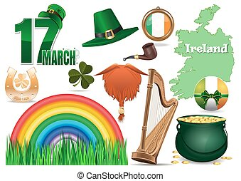 17 March. Vector icons set for St. Patricks Day