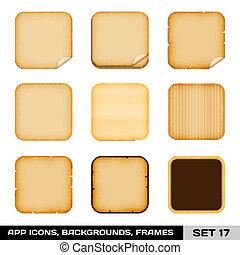 17., set, kleurrijke, app, lijstjes, vector, backgrounds., voorbeelden, pictogram