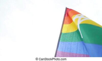 17, tegen, blauwe , regenboog, vrolijk, lesbische , vlag, transgender, trots, maart, vrolijk, symbool, juni, zwaaiende , oekraïne, vlag, equality., biseksueel, lgbt, sky., gewoonlijk, kyiv, 2018.