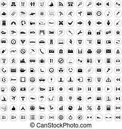 170, icônes, ensemble