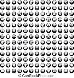 170, icônes, set170, icônes, ensemble