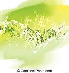 1707, notes, aquarelle, musique, texture, résumé