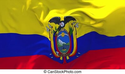 171. Ecuador Flag Waving in Wind Continuous Seamless Loop Background.