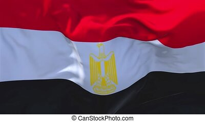 172. Egypt Flag Waving in Wind Continuous Seamless Loop Background.