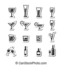 177 Drink alcohol beverage icons set