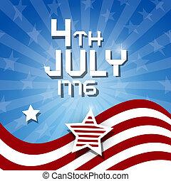 1776, -, américain, 4ème, heme, drapeau, vecteur, fond, juillet