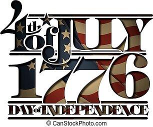 1776, doay, ritaglio, luglio, avanti, indipendenza