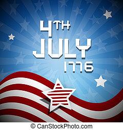 1776, illustration, quatrième, juillet, jour, indépendance