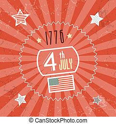 1776, quatrième, arrière-plan rouge, juillet, jour, indépendance, retro